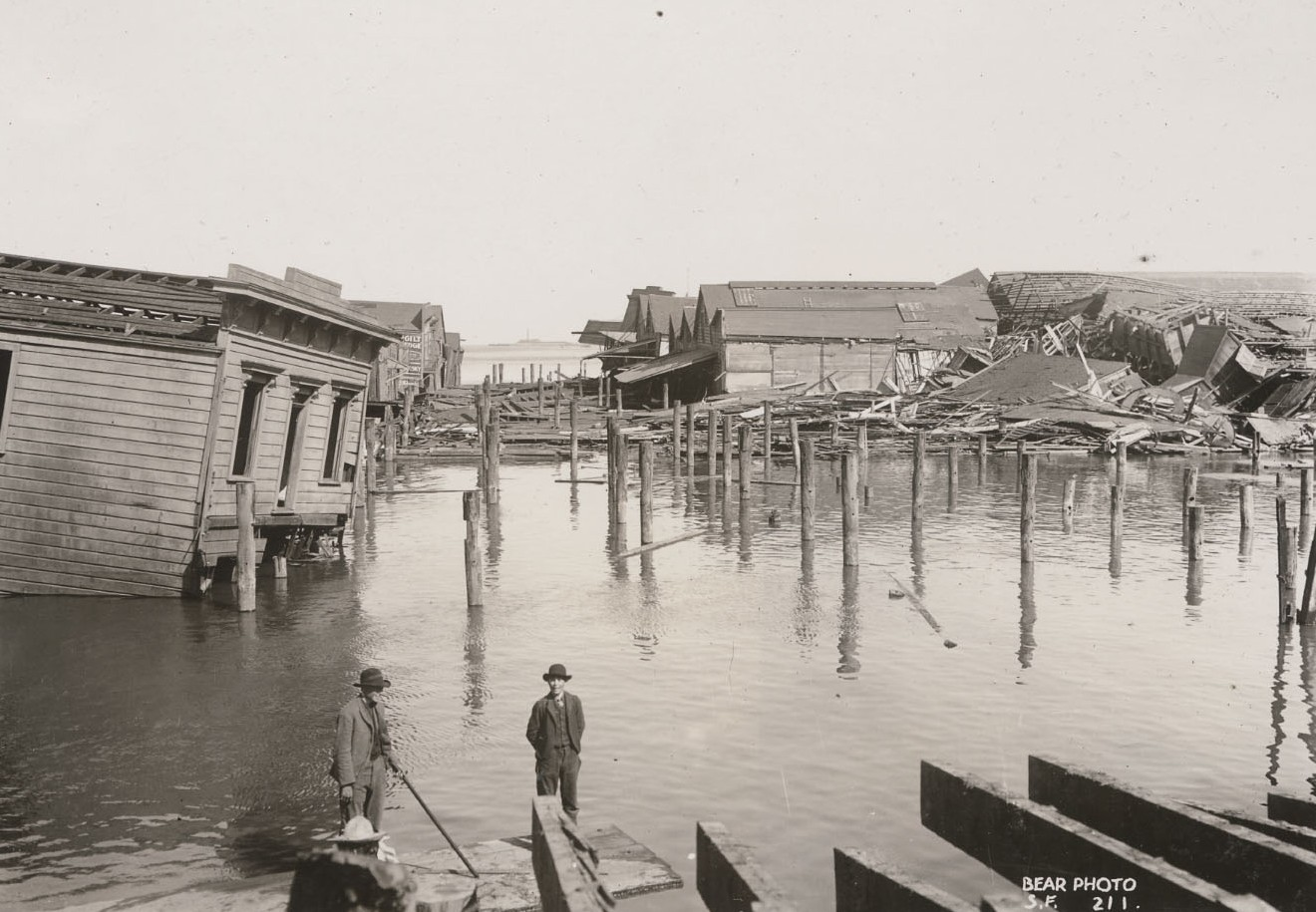 Butchertown piers near Hunters Point. California State Library, California History Room