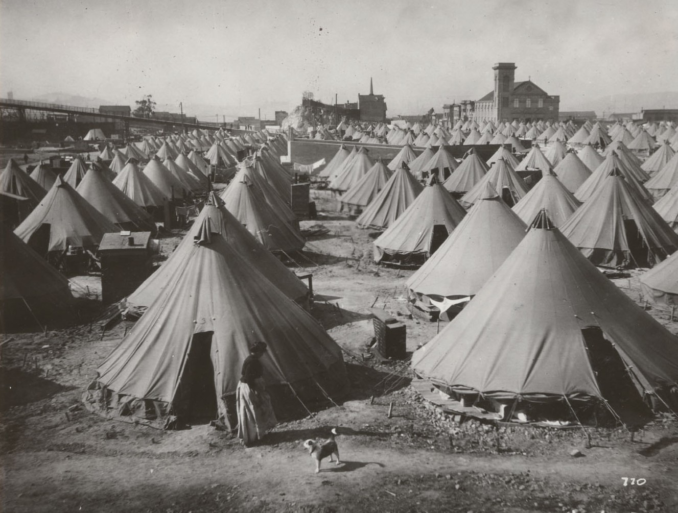 Tents at refugee camp. California State Library, California History Room